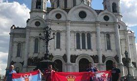 Zastava Pljevalja na utakmici Brazil Srbija