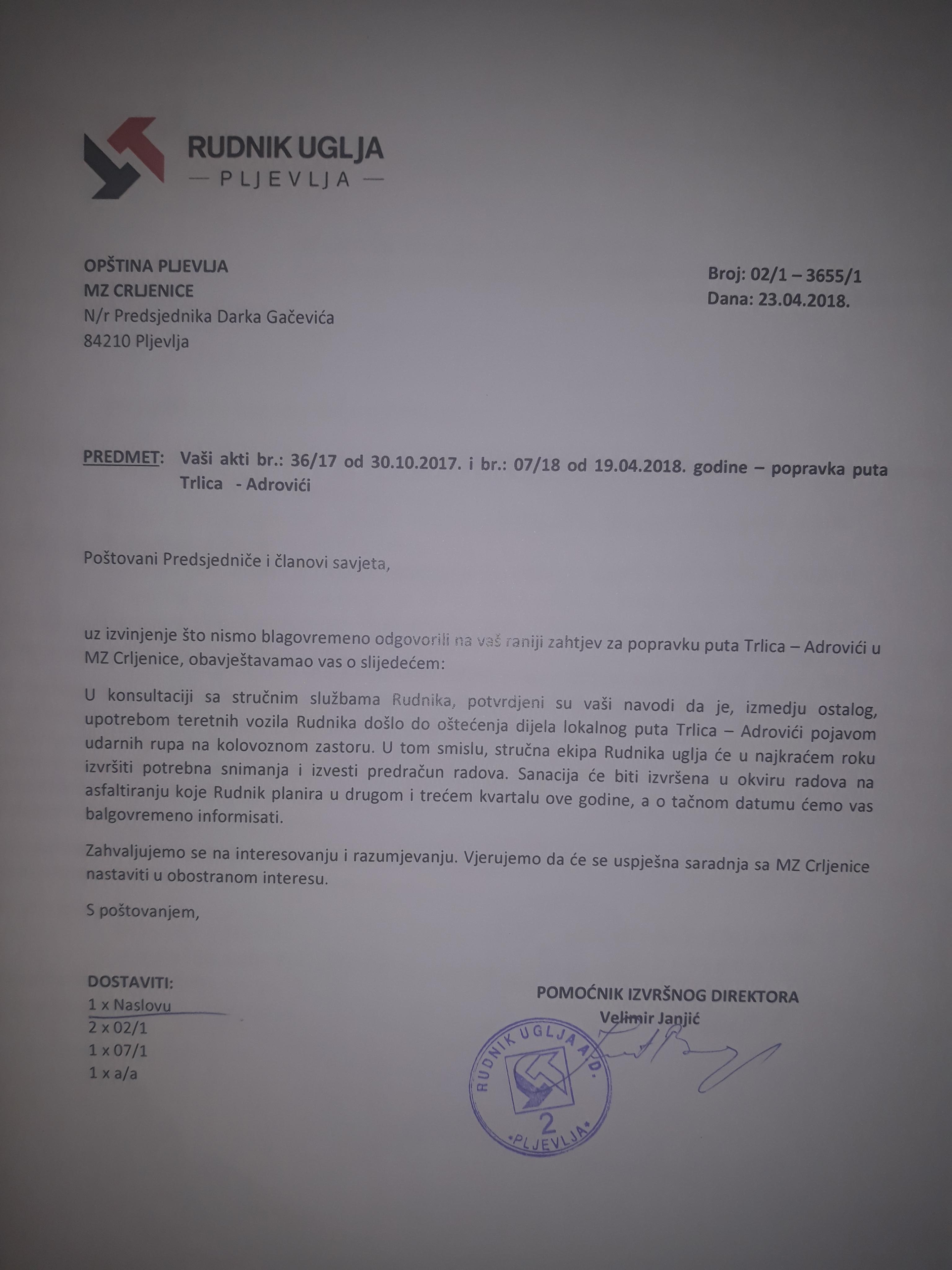 Odgovor pomoćnika izvršnog direktora Rudnika Velimira Janjića